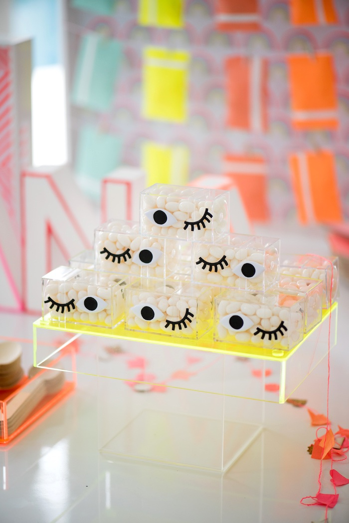 Lash Favor Boxes from a Pastel Neon Teen Birthday Party on Kara's Party Ideas | KarasPartyIdeas.com (33)