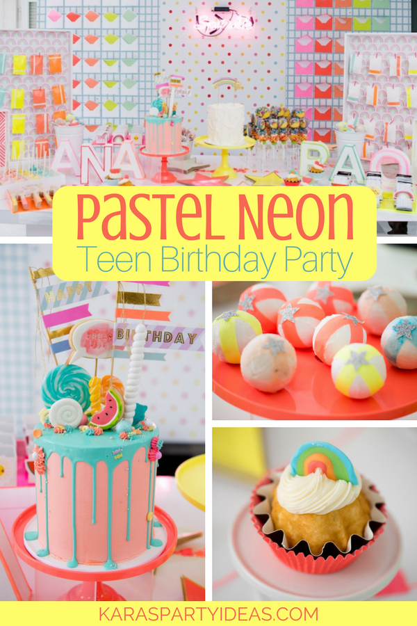 teenage birthday party ideas Kara's Party Ideas Pastel Neon Teen Birthday Party | Kara's Party  teenage birthday party ideas