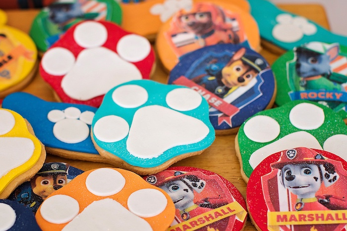 Paw Print Sugar Cookies from a Paw Patrol Inspired Puppy Party on Kara's Party Ideas | KarasPartyIdeas.com (18)