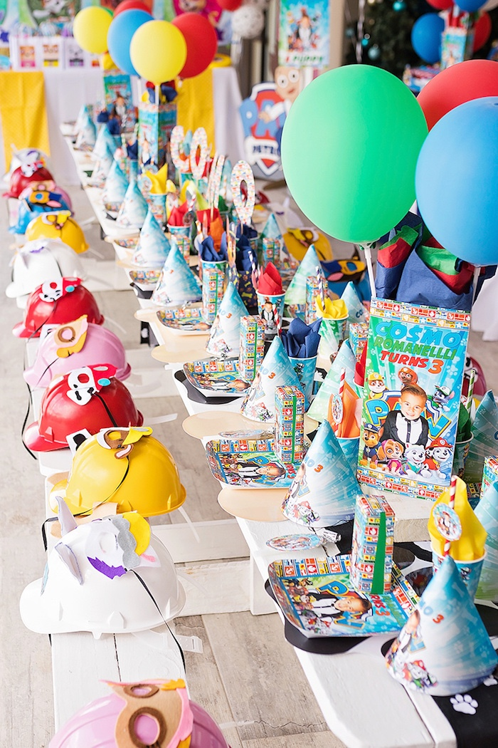 Paw Patrol Chow Table from a Paw Patrol Inspired Puppy Party on Kara's Party Ideas | KarasPartyIdeas.com (15)