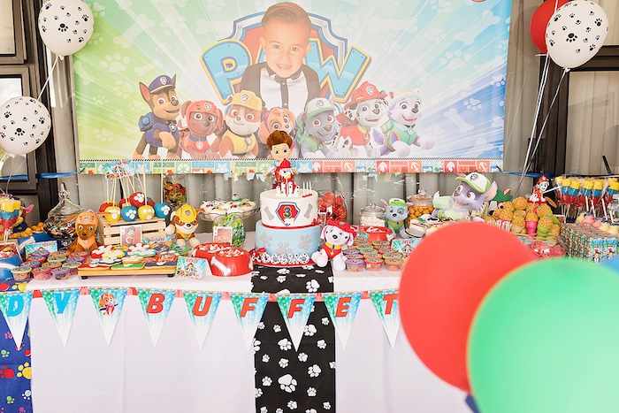 Paw Patrol Party Table from a Paw Patrol Inspired Puppy Party on Kara's Party Ideas | KarasPartyIdeas.com (14)