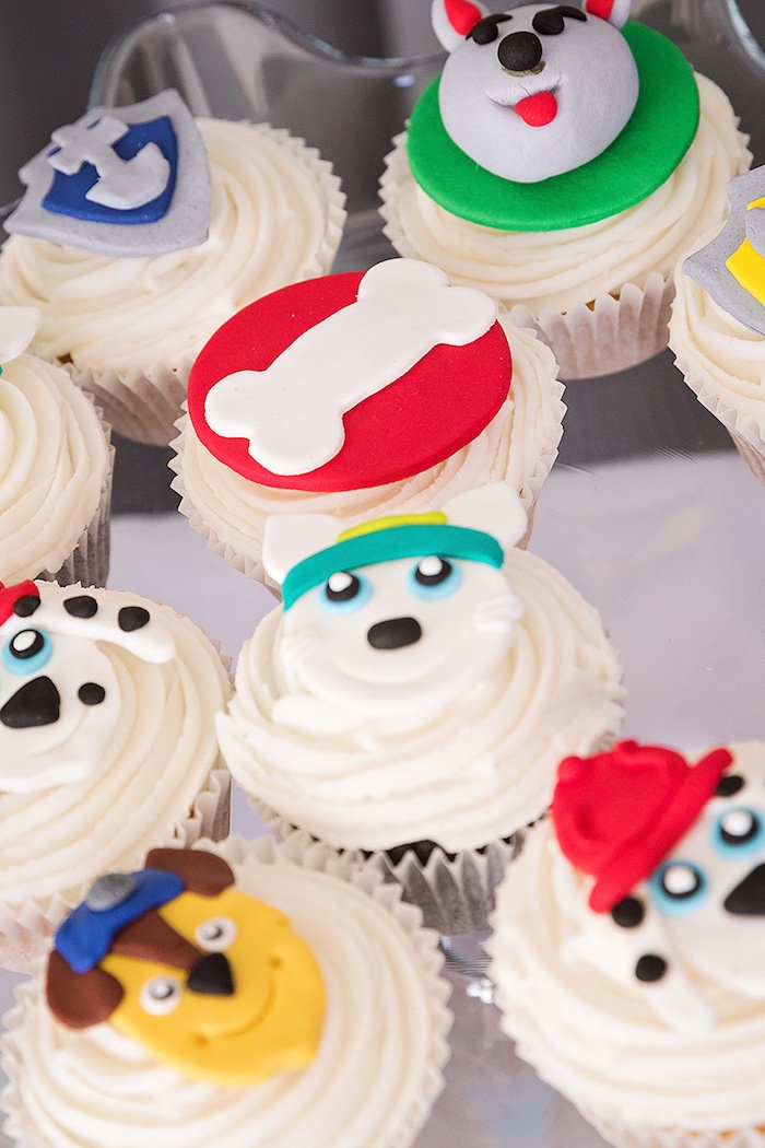 Paw Patrol Cupcakes from a Paw Patrol Inspired Puppy Party on Kara's Party Ideas | KarasPartyIdeas.com (8)