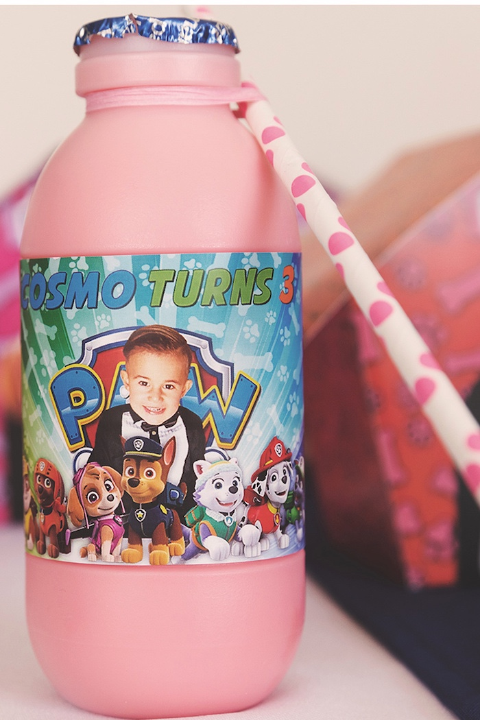 Milk Bottle from a Paw Patrol Inspired Puppy Party on Kara's Party Ideas | KarasPartyIdeas.com (6)