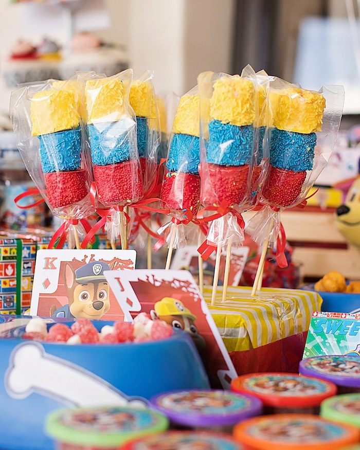 Paw Patrol Marshmallow Pops from a Paw Patrol Inspired Puppy Party on Kara's Party Ideas | KarasPartyIdeas.com (5)