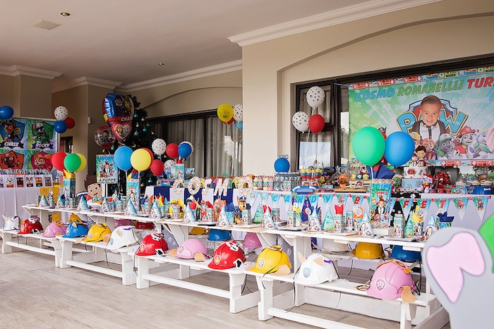 Paw Patrol Guest Table from a Paw Patrol Inspired Puppy Party on Kara's Party Ideas | KarasPartyIdeas.com (28)