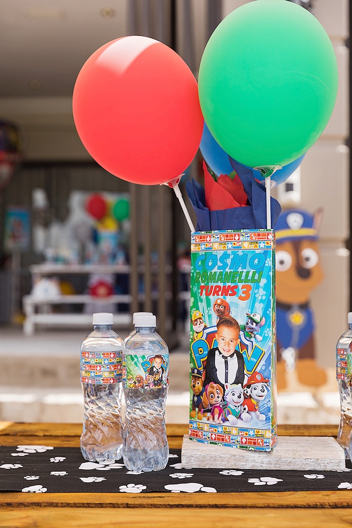 Paw Patrol Table Centerpiece from a Paw Patrol Inspired Puppy Party on Kara's Party Ideas | KarasPartyIdeas.com (25)