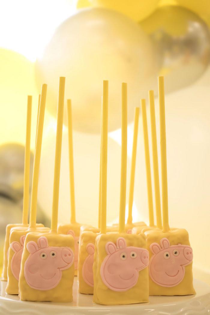 Peppa Pig Rice Krispie Treats from a Peppa Pig Birthday Party on Kara's Party Ideas | KarasPartyIdeas.com (20)