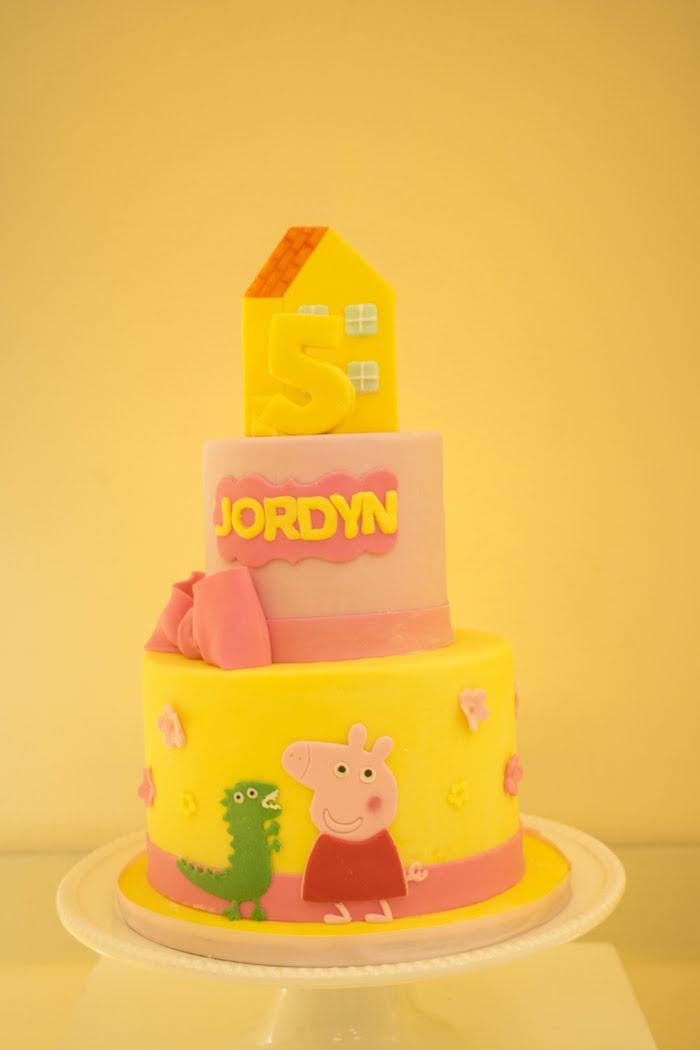 Peppa Pig Cake from a Peppa Pig Birthday Party on Kara's Party Ideas | KarasPartyIdeas.com (16)