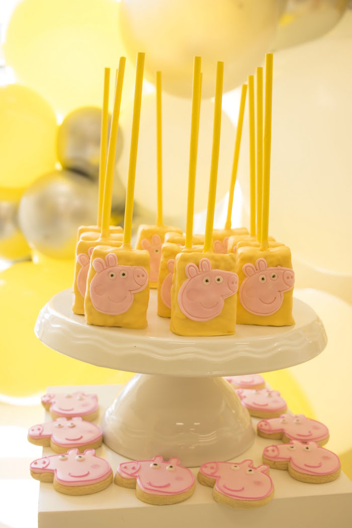 Peppa Pig Krispies & Cookies from a Peppa Pig Birthday Party on Kara's Party Ideas | KarasPartyIdeas.com (15)