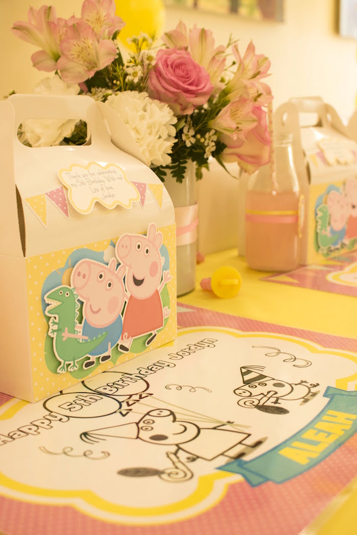 Peppa Pig Place Setting from a Peppa Pig Birthday Party on Kara's Party Ideas | KarasPartyIdeas.com (12)