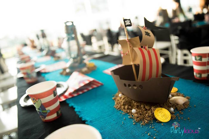 Pirate Ship Centerpiece from a Pirates of the Caribbean Inspired Birthday Party on Kara's Party Ideas | KarasPartyIdeas.com (9)