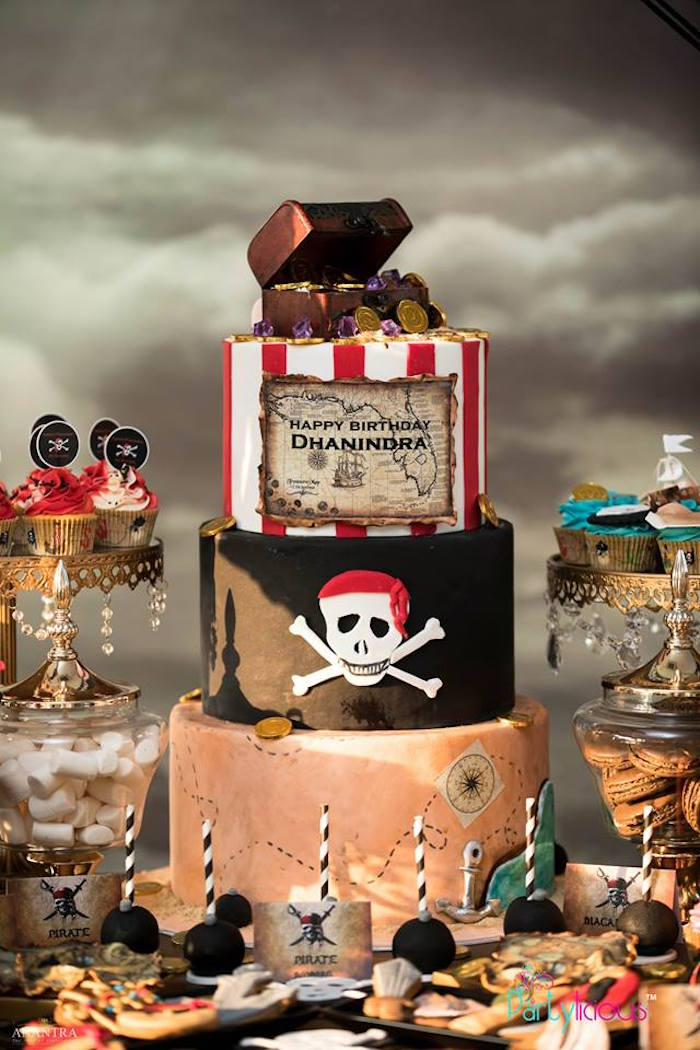 Pirate Cake from a Pirates of the Caribbean Inspired Birthday Party on Kara's Party Ideas | KarasPartyIdeas.com (6)