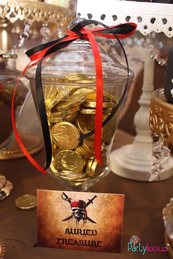 Gold Chocolate Coins from a Pirates of the Caribbean Inspired Birthday Party on Kara's Party Ideas | KarasPartyIdeas.com (40)
