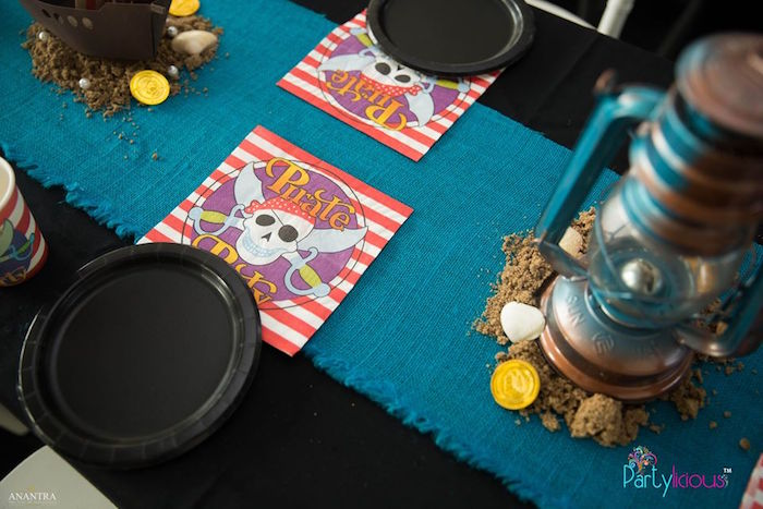 Pirate Table Setting from a Pirates of the Caribbean Inspired Birthday Party on Kara's Party Ideas | KarasPartyIdeas.com (39)