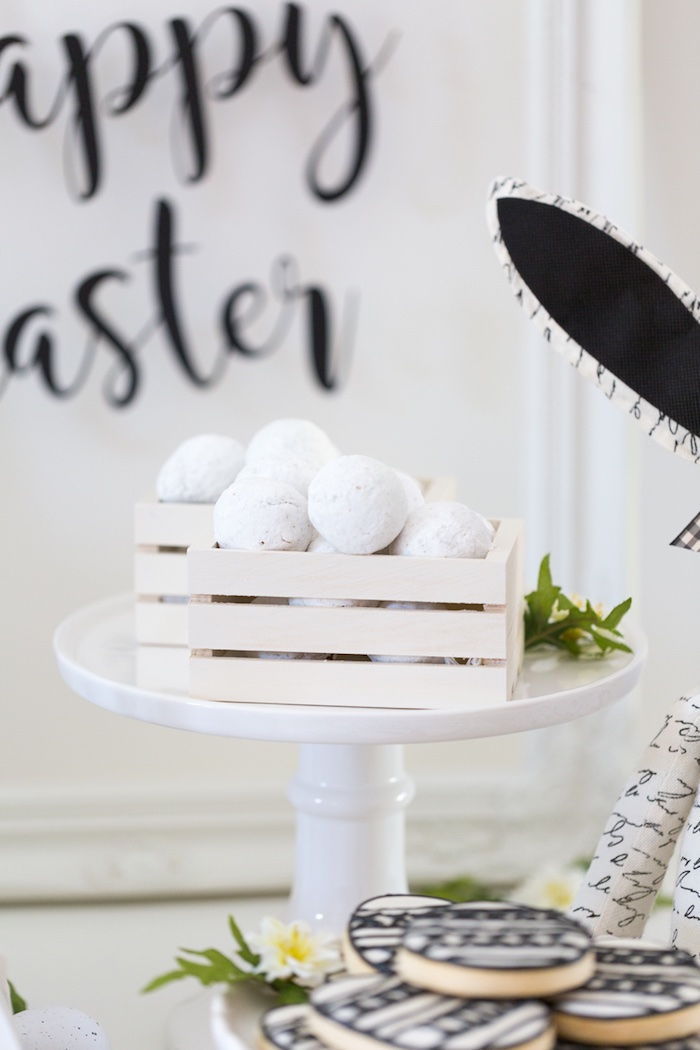 Powdered Sugar Donuts from a Monochromatic Easter Party via Kara's Party Ideas | KarasPartyIdeas.com