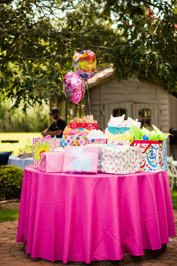 Gift Table from a Puppies and Sprinkles Birthday Party on Kara's Party Ideas | KarasPartyIdeas.com (17)
