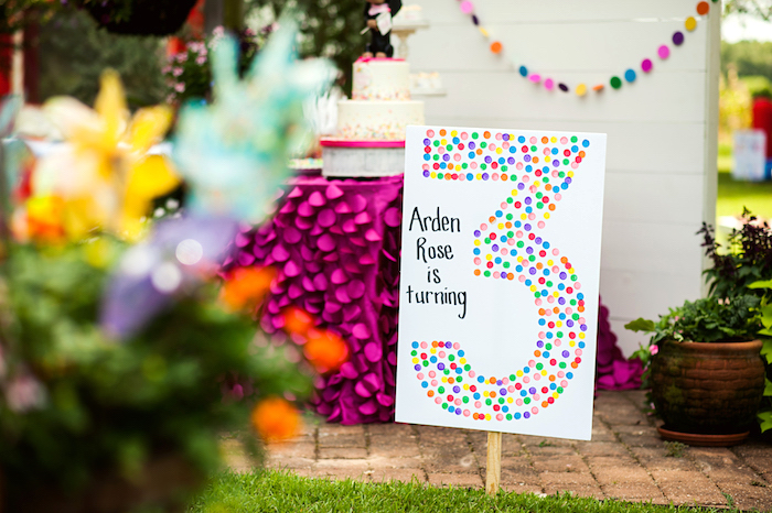 Pom Pom/Sprinkle Themed Number Sign from a Puppies and Sprinkles Birthday Party on Kara's Party Ideas | KarasPartyIdeas.com (11)
