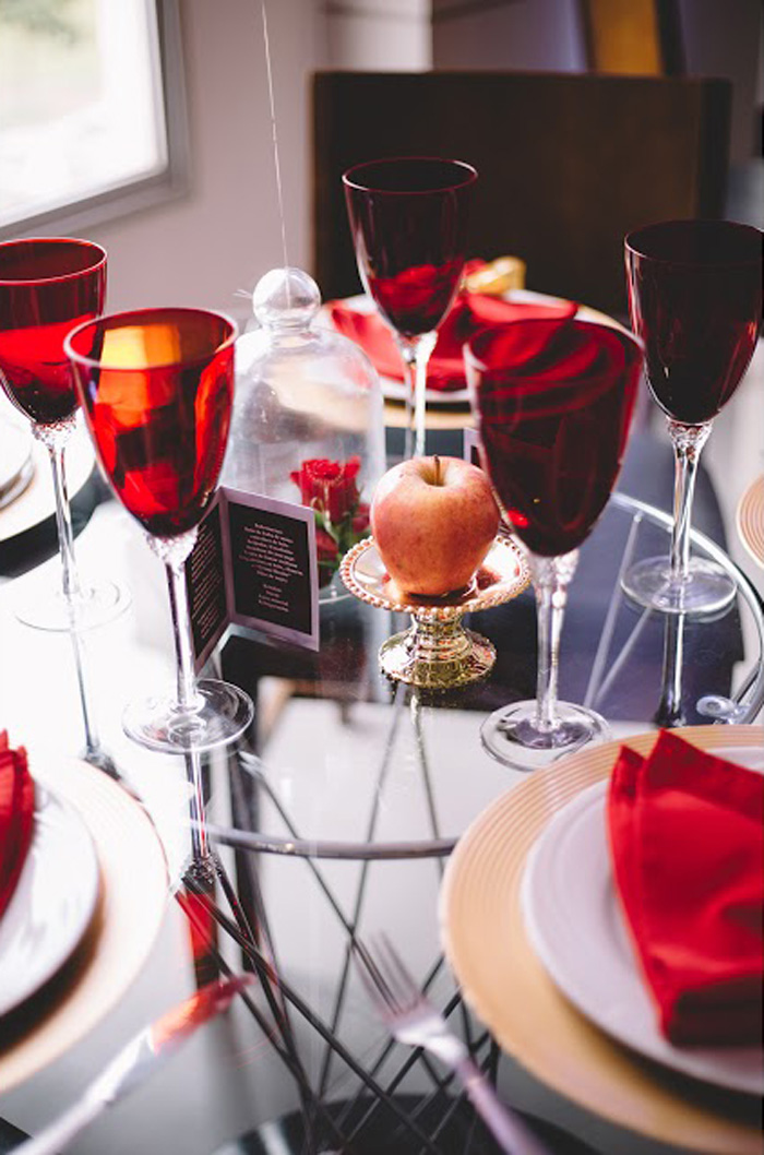 "Red-Accented-Guest-Tablescape from ABC's ""Once Upon a Time"" Inspired Birthday Party on Kara's Party Ideas 