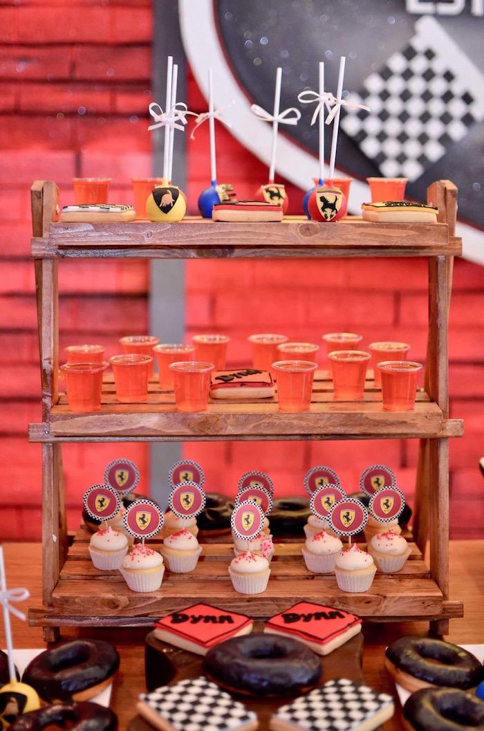 Dessert Shelf from a Red Race Car Birthday Party on Kara's Party Ideas | KarasPartyIdeas.com (16)