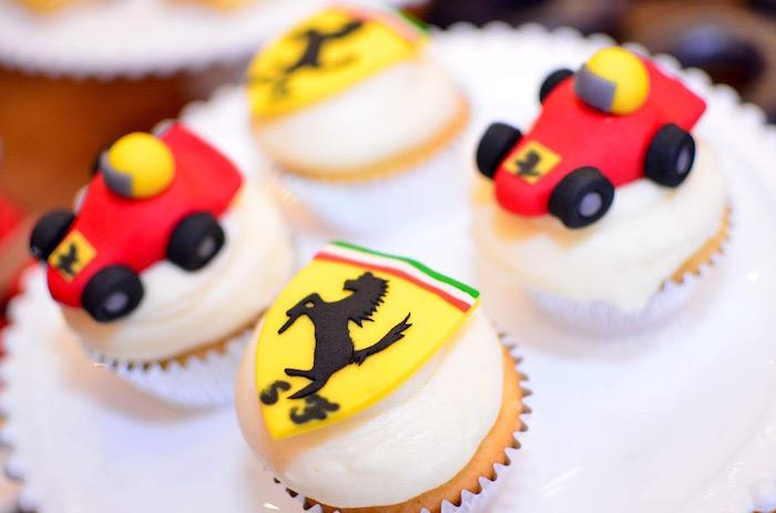 Race Car Themed Cupcakes from a Red Race Car Birthday Party on Kara's Party Ideas | KarasPartyIdeas.com (12)
