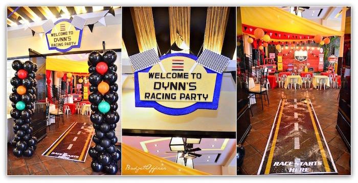 Race Themed Entrance from a Red Race Car Birthday Party on Kara's Party Ideas | KarasPartyIdeas.com (28)