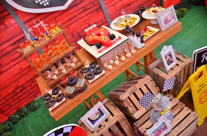 Dessert Table from a Red Race Car Birthday Party on Kara's Party Ideas | KarasPartyIdeas.com (27)