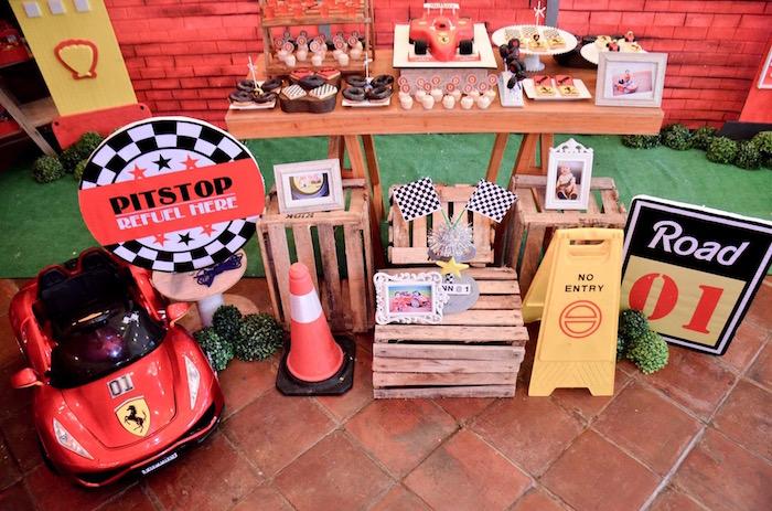 Race Themed Decor from a Red Race Car Birthday Party on Kara's Party Ideas | KarasPartyIdeas.com (26)