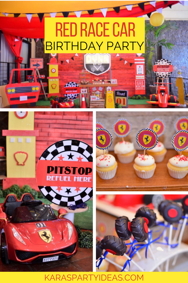 Red Race Car Birthday Party via Kara's Party Ideas - KarasPartyIdeas.com