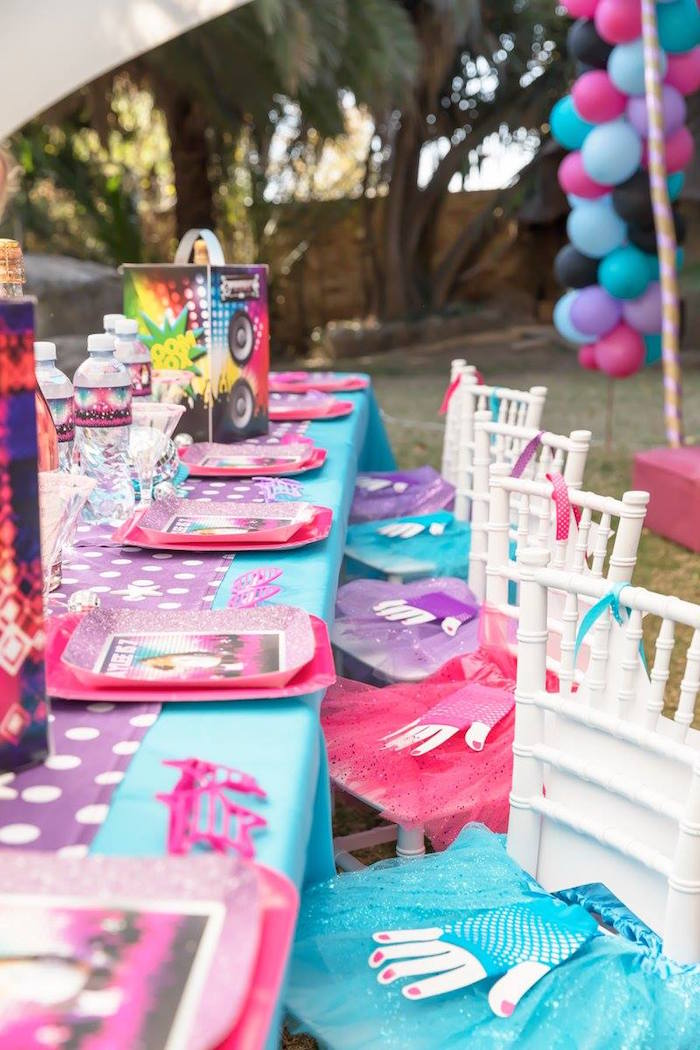 Girly Rock Star Table Settings from a Rock Star Birthday Party on Kara's Party Ideas | KarasPartyIdeas.com (11)