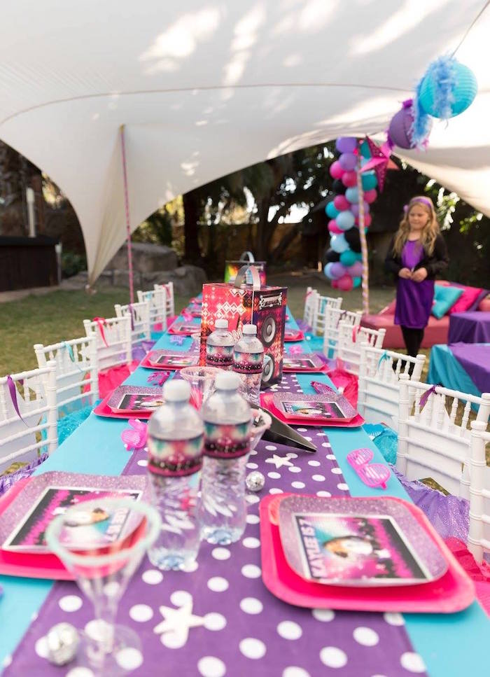 Girly Rock Star Guest Table from a Rock Star Birthday Party on Kara's Party Ideas | KarasPartyIdeas.com (10)