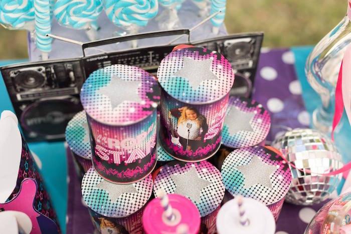 Pop Star Favor Tubes from a Rock Star Birthday Party on Kara's Party Ideas | KarasPartyIdeas.com (19)
