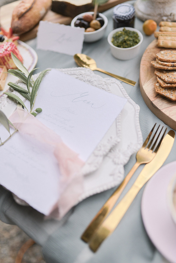 Romantic Table Setting from a Romantic French Inspired Wedding on Kara's Party Ideas | KarasPartyIdeas.com (15)