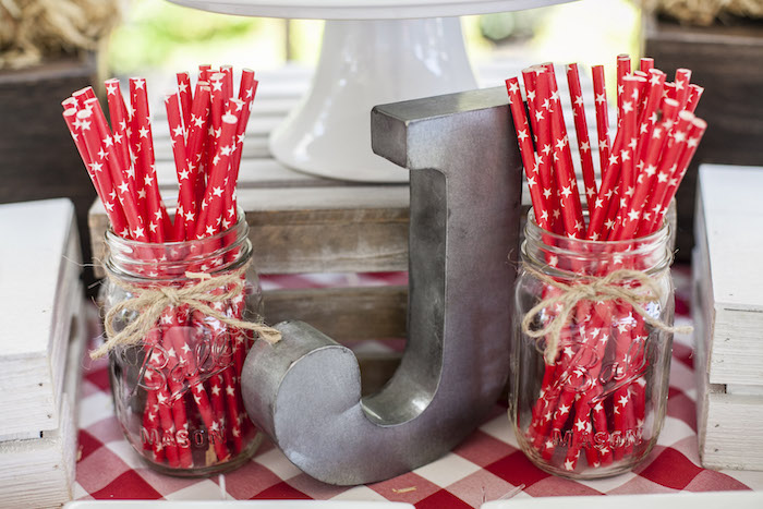 Jute Twine-tied Mason Jars + Straws from a Rustic County Fair Birthday Party on Kara's Party Ideas | KarasPartyIdeas.com (27)
