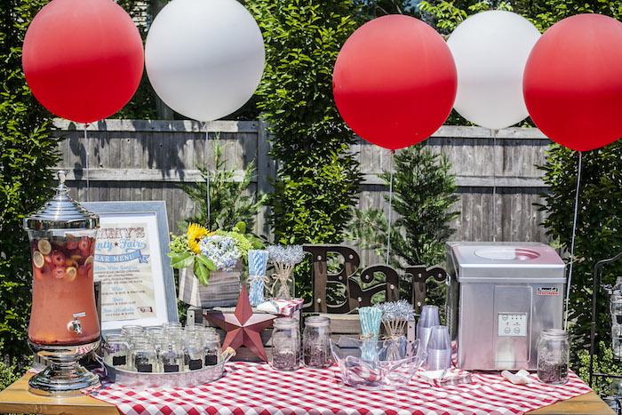 Drink Bar from a Rustic County Fair Birthday Party on Kara's Party Ideas | KarasPartyIdeas.com (25)