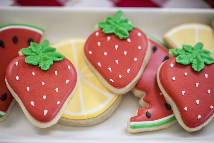Fruit Shaped Cookies from a Rustic County Fair Birthday Party on Kara's Party Ideas | KarasPartyIdeas.com (22)