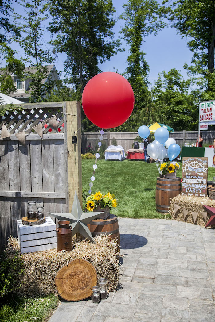 Party Entrance from a Rustic County Fair Birthday Party on Kara's Party Ideas | KarasPartyIdeas.com (40)