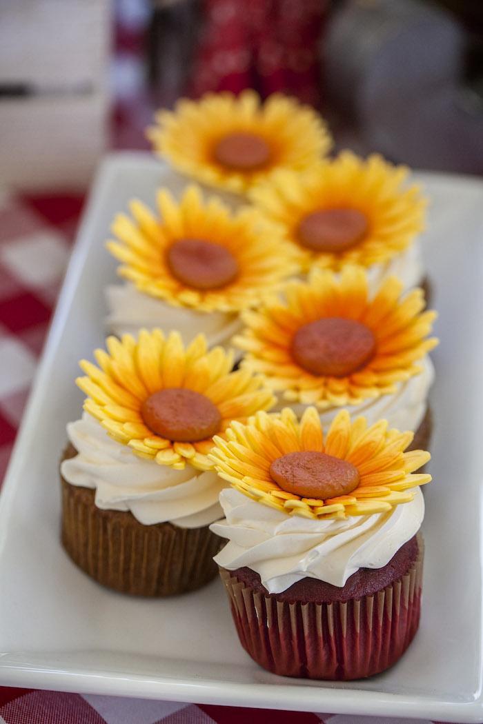 Sunflower Cupcakes from a Rustic County Fair Birthday Party on Kara's Party Ideas | KarasPartyIdeas.com (18)