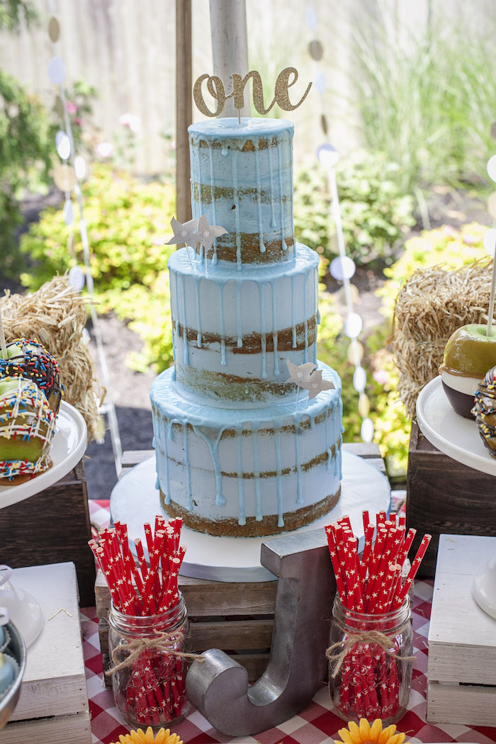 Blue Drip Cake from a Rustic County Fair Birthday Party on Kara's Party Ideas | KarasPartyIdeas.com (13)