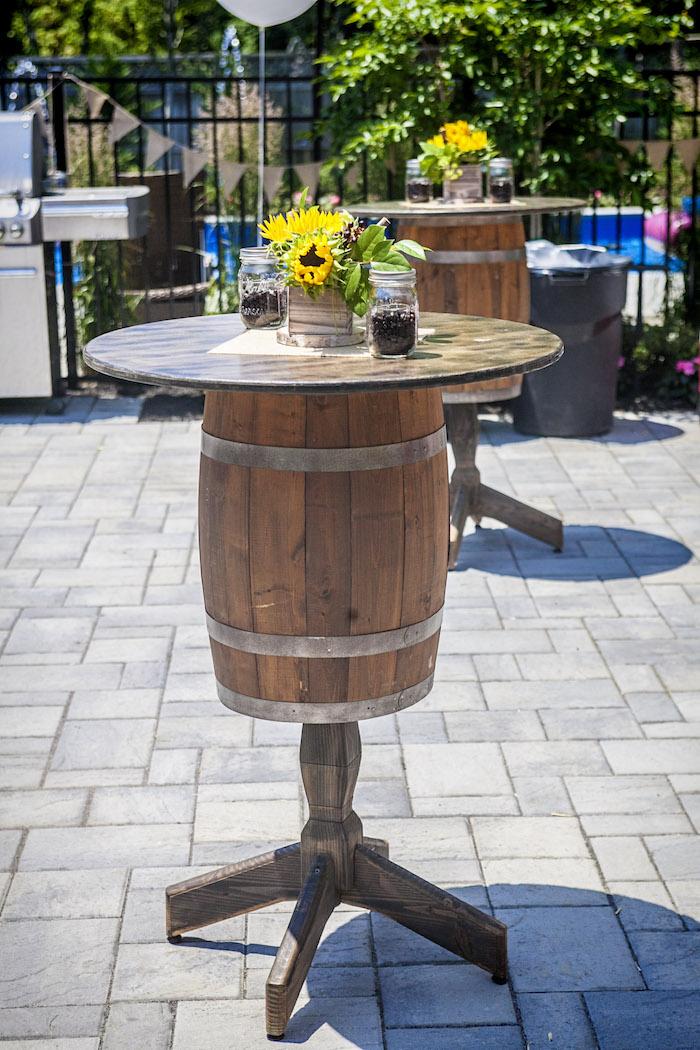 Barrel Table from a Rustic County Fair Birthday Party on Kara's Party Ideas | KarasPartyIdeas.com (38)