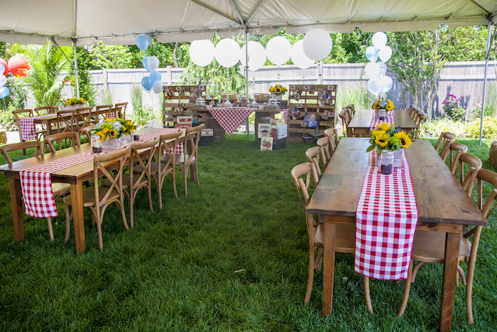 Rustic Wood Guest Tables from a Rustic County Fair Birthday Party on Kara's Party Ideas | KarasPartyIdeas.com (33)