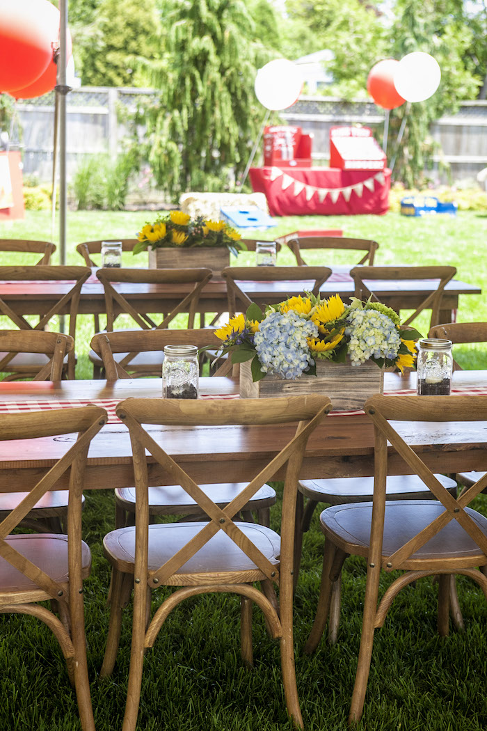 Rustic Wood Guest Tables from a Rustic County Fair Birthday Party on Kara's Party Ideas | KarasPartyIdeas.com (32)