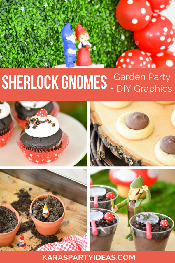 Sherlock Gnomes Garden Party + DIY Mushroom Stool via Kara's Party Ideas - KarasPartyIdeas.com