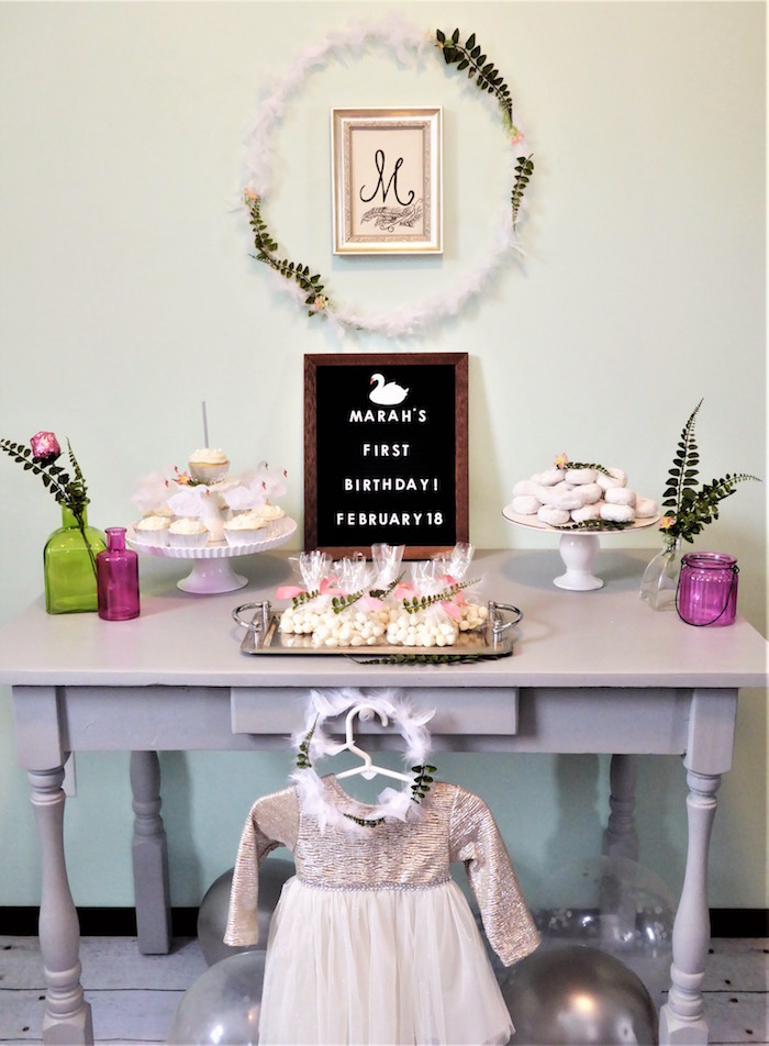 Spring Swan Party Table from a Spring Swan Birthday Party via Kara's Party Ideas | KarasPartyIdeas.com