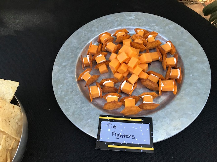 Cheese & Cracker Tie Fighters from a Star Wars Birthday Party on Kara's Party Ideas | KarasPartyIdeas.com (10)