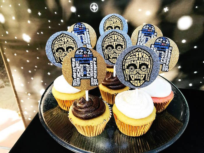 R2-D2 & C-3PO Cupcakes from a Star Wars Birthday Party on Kara's Party Ideas | KarasPartyIdeas.com (8)