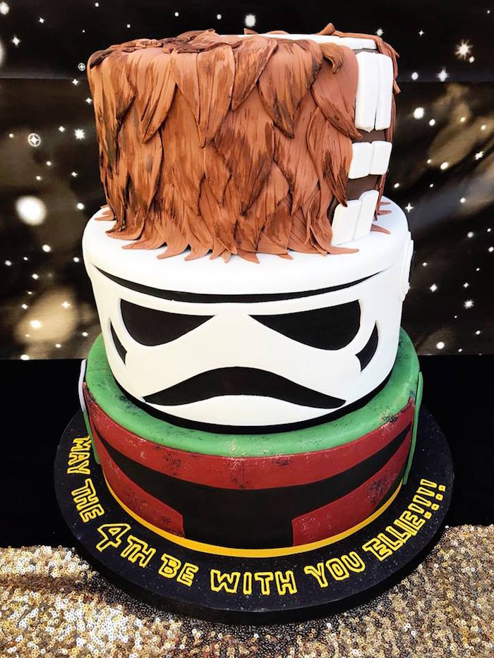 Star Wars Cake from a Star Wars Birthday Party on Kara's Party Ideas | KarasPartyIdeas.com (5)
