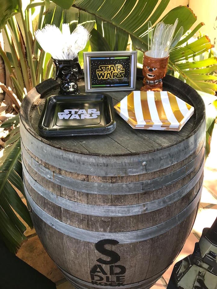 Partyware + Barrel Table from a Star Wars Birthday Party on Kara's Party Ideas | KarasPartyIdeas.com (4)