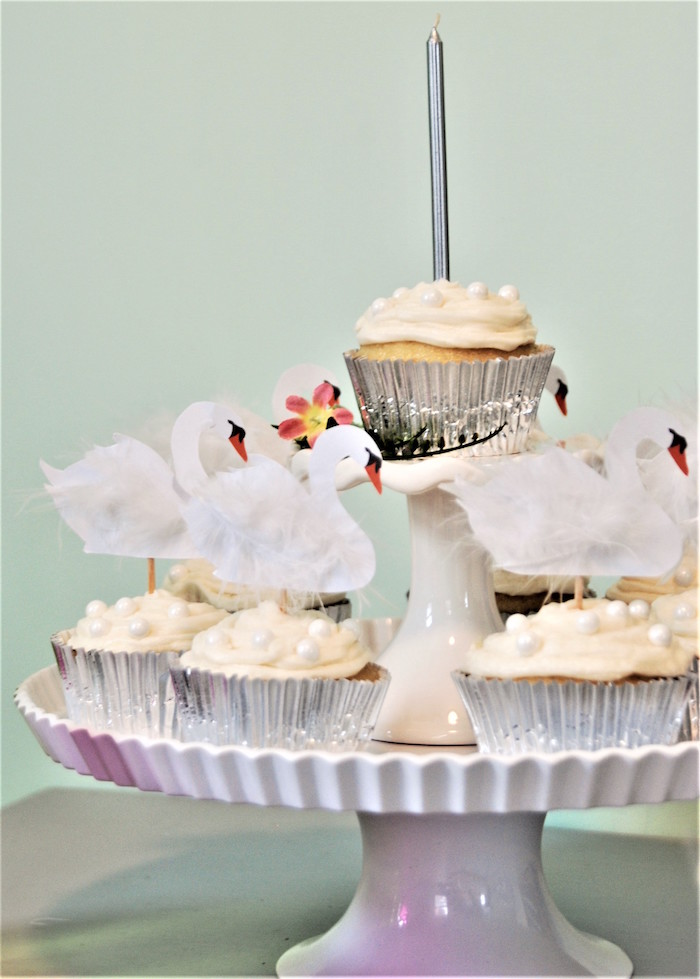 Swan Cupcakes from a Spring Swan Birthday Party on Kara's Party Ideas | KarasPartyIdeas.com