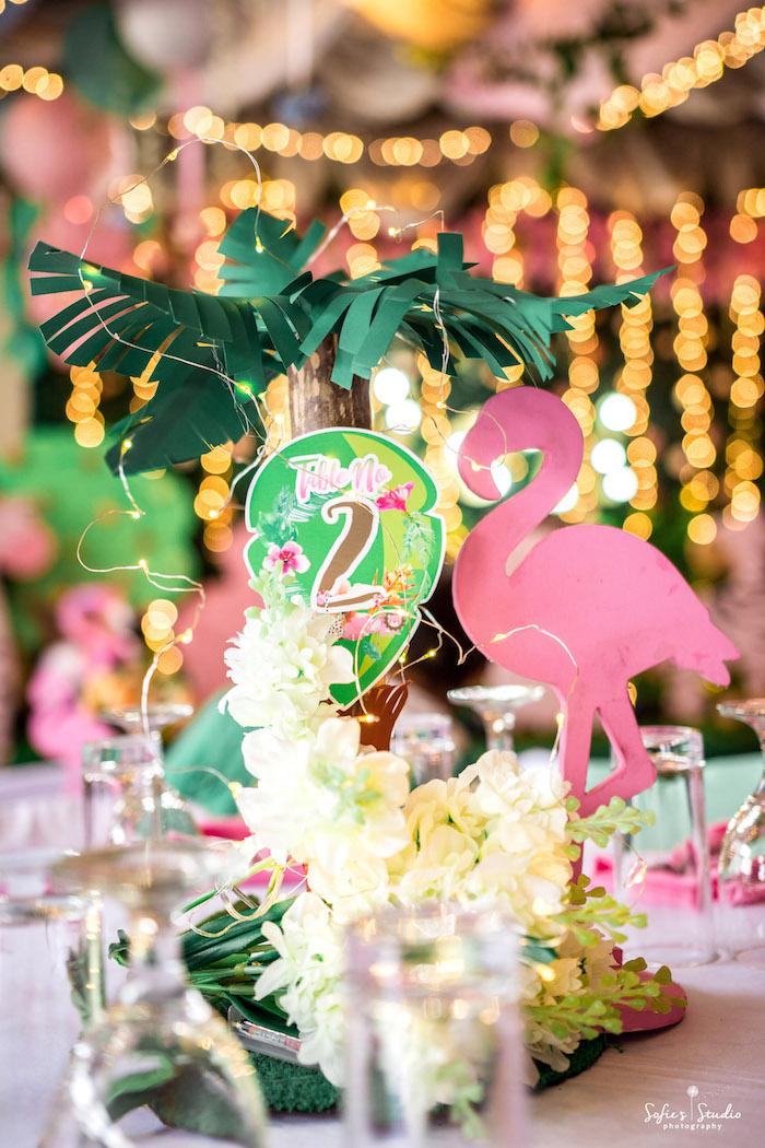 Flamingo Table Centerpiece from a Tropical Safari Birthday Party on Kara's Party Ideas | KarasPartyIdeas.com (20)