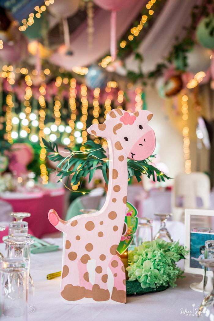 Giraffe Table Centerpiece from a Tropical Safari Birthday Party on Kara's Party Ideas | KarasPartyIdeas.com (19)